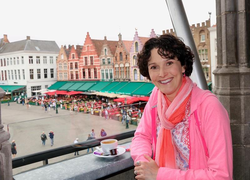Morning coffee overlooking my favorite buildings on Markt Square - Bruges, Belgium.
