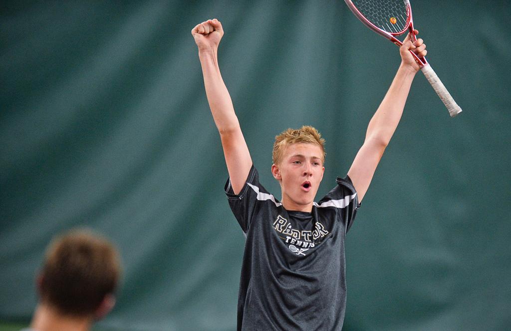 . East Ridge player Benjamin Van der Sman reacts after beating Mounds View\'s Hunter Krebsbach 6-4, 1-6, 6-1 in the State Class AA Boys\' Tennis Tournament team quarterfinals. (Pioneer Press: Ben Garvin)