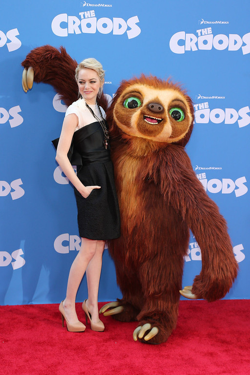 ". Actress Emma Stone attends ""The Croods\"" premiere at AMC Loews Lincoln Square 13 theater on March 10, 2013 in New York City.  (Photo by Neilson Barnard/Getty Images)"