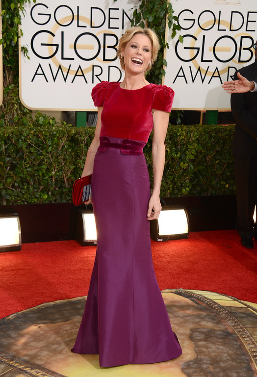 . Julie Bowen arrives at the 71st annual Golden Globe Awards at the Beverly Hilton Hotel on Sunday, Jan. 12, 2014, in Beverly Hills, Calif. (Photo by Jordan Strauss/Invision/AP)