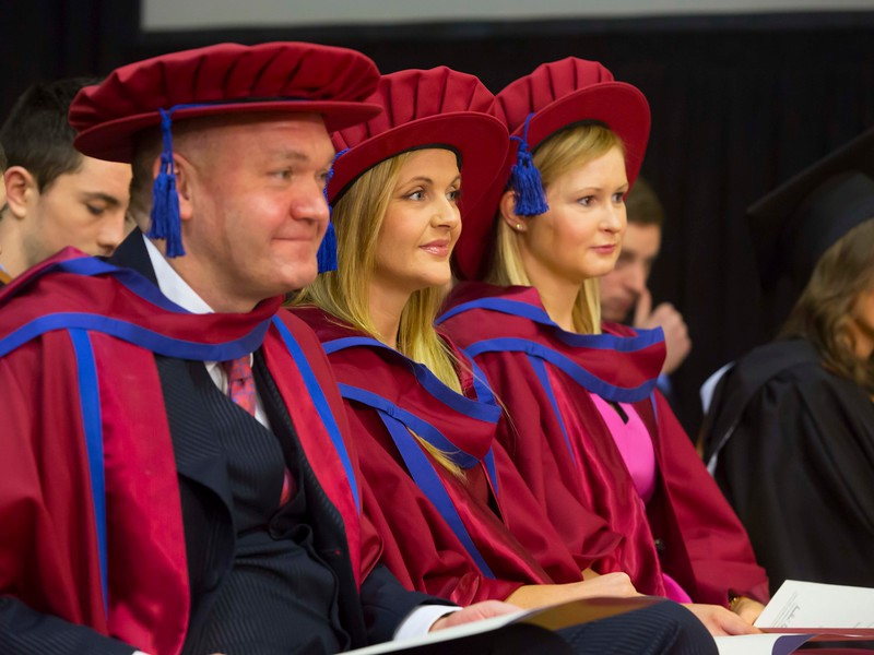 Waterford Institute Of Technology Conferring. Pictured at WIT Waterford Institute Of Technology Conferring isPhil Brennan, Waterford, Geraldine Cleere, Waterford,  Jill O'Mahoney, Waterford, who were conferred a Doctor of Philosophy. Picture: Patrick Browne