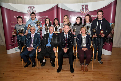 St Paul's High School Bessbrook, Senior Prizegiving on Thursday last.Pictured are students who received individual awards for Endeavour and Contribution at GCE Advanced level,with Principle Mr Jarlath Burns, Mr John Campbell,Chairman of Governors,Very Rev Father Sean Larkin,PP, and guest speaker Miss Colleen Mallon.R1438706