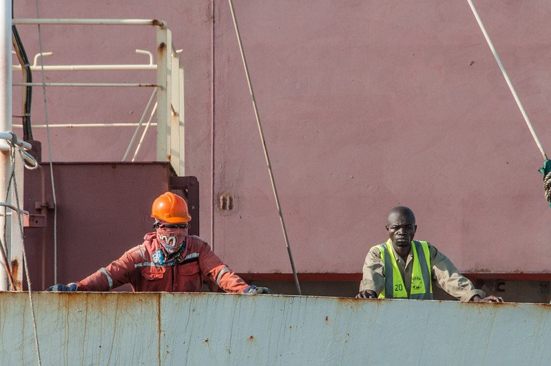 Workers at ship deck in Pointe-Noire, Republic of Congo