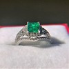 1.29ctw Emerald and Diamond Modified Halo Ring 4