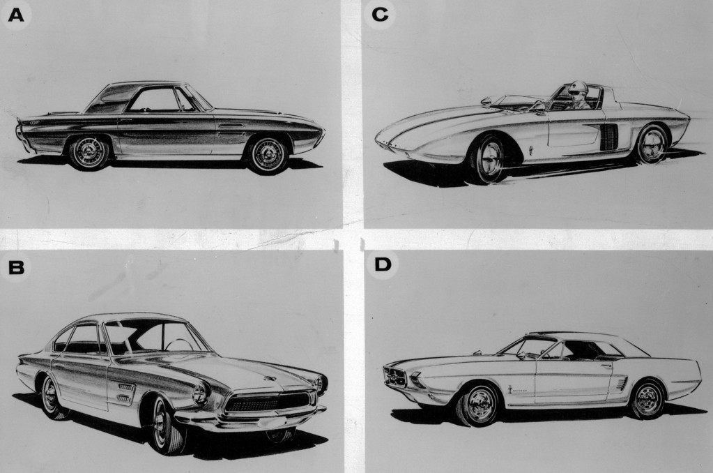 ". The Median was the first of many models developed in the Mustang line, initially as an ""experimental car.\"" It had the T-Bird \""feel,\"" but Ford built it to carry four. The Allegro, another pre-Mustang Ford experiment, was built in 1962. It introduced the \""fastback\"" roof similar to the present Mustang 2 plus 2, already a best-seller. This is the original Mustang, first built in 1962 as an experimental two-passenger car. Ford stylists liked the response, built it to a car-for-four and hit the jackpot.  The Mustang II, introduced in 1963 as \""a market  re­search vehicle\"" became the forerunner of the mighty little car which has stormed the market since its spring debut.  Denver Post Library photo archive"