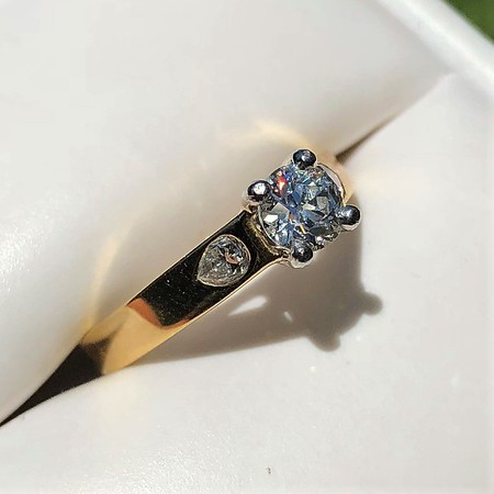 .61ctw OEC and Pear Cut Diamond Trilogy Ring