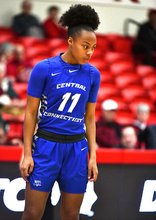 12/21/2019 Mike Orazzi | StaffrCCSU's Dejah Jenkins (11) during Saturday's women's basketball game with The University of Hartford in West Hartford.