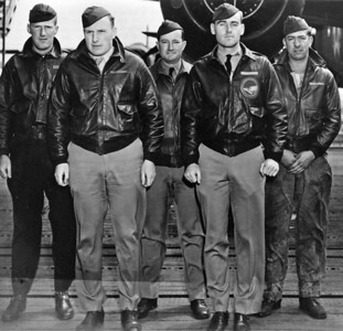 Lieutenant Smith and the crew of Plane #15.  Their mission during the April 18, 1942 raid on Japan was to hit an aircraft manufacturing plant and dock facilities in the city of Kobe.  Shown in this photograph (left-to-right): Lieutenant Howard A. Sessler, Navigator-Bombardier  Lieutenant Donald G. Smith, Pilot Lieutenant (Dr.) Thomas B. White, Gunner Lieutenant Griffith P. Williams, Co-Pilot and Sergeant Edward J. Saylor, Engineer  Click on the photo to choose a larger version of this image.   (Air Force Photo)