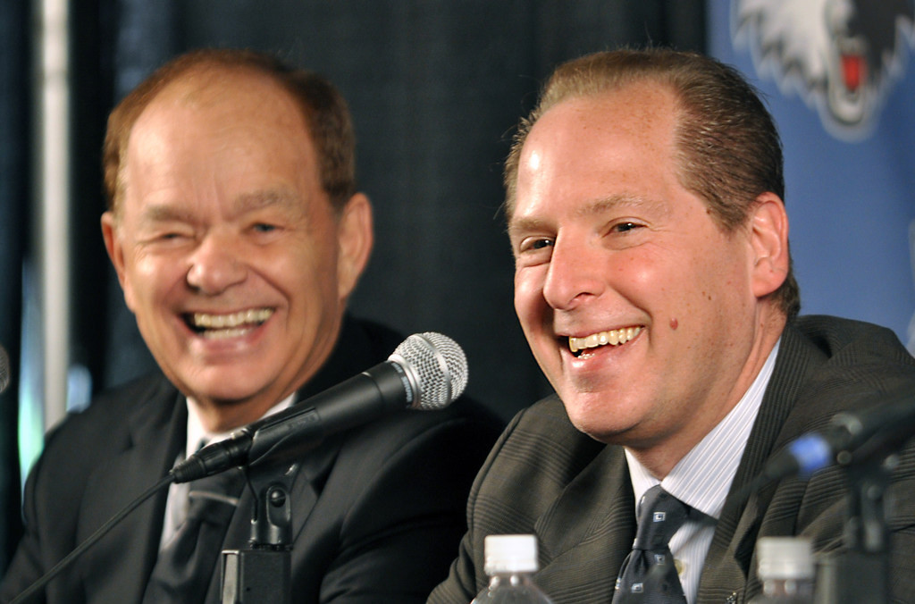 . New Timberwolves president of basketball operations David Kahn, right, answers questions during a press conference at the Target Center in Minneapolis on May 22, 2009. At left is team owner Glen Taylor. (Pioneer Press: Ben Garvin)