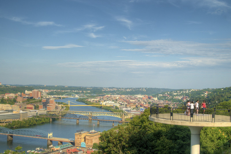 One of the scenic overlooks with a view of downtown and the Southeside of Pittsburgh, PA on Friday, August 14, 2015. Copyright 2015 Jason Barnette