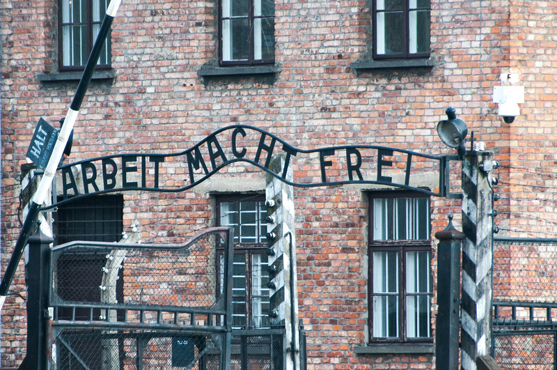 """""""Arbeit Macht Frei"""" (""""Work Relieves"""") entrance Gate in Auschwitz Birkenau - Krakow, Poland"""