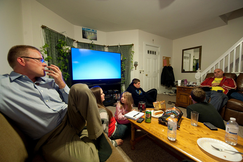 That TV threw my white balance off. This shot came with everyone looking quite jaundiced-looking originally.