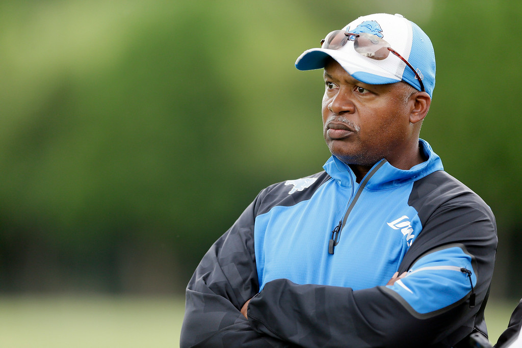 . Detroit Lions head coach Jim Caldwell is seen during an NFL football minicamp in Allen Park, Mich., Wednesday, June 11, 2014. (AP Photo/Carlos Osorio)