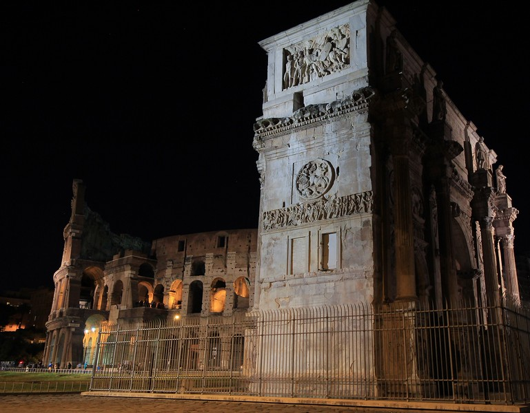 The Constantine Arch is the nearest ancient structure to the Colusseum.