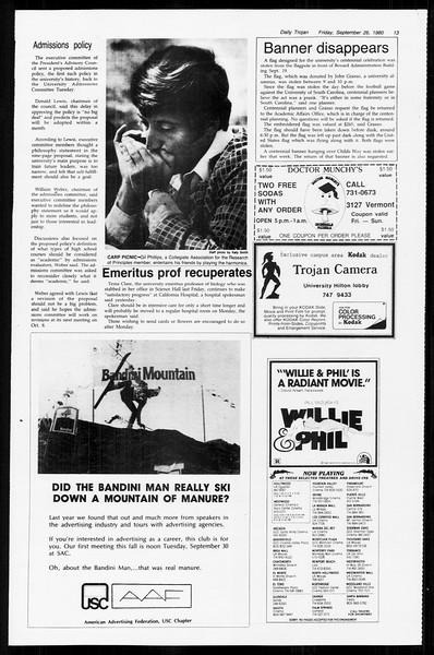 Daily Trojan, Vol. 89, No. 10, September 26, 1980
