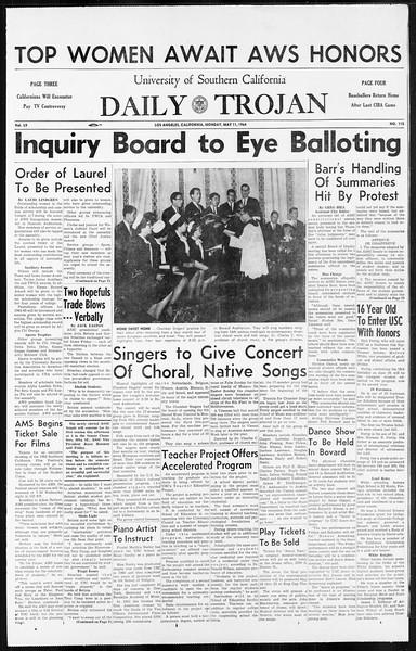 Daily Trojan, Vol. 55, No. 115, May 11, 1964