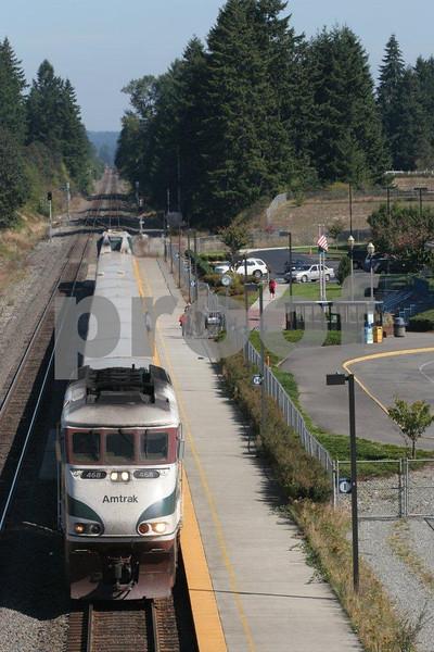 Train station in East Olympia, Washington.