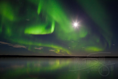 Nearly full moon and the Aurora. Devil's Lake. Kotzebue, AK