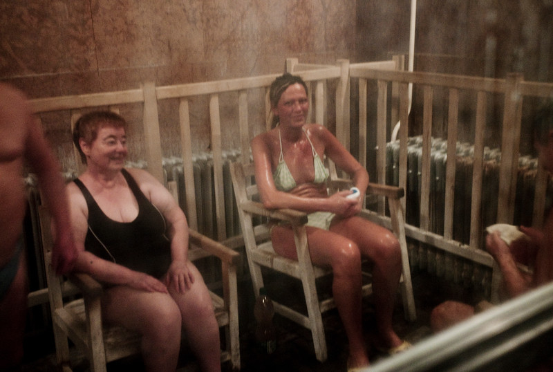 March , 2012, Budapest, Hungary -  Sauna at one of the public baths in Budapest.    Budapest is known as the SPA Capital of the world.  Nearly 120 hot springs feed the city's historic thermal baths (Furdo) and approximately 70 million litres of water used every day.