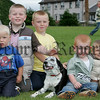 Shane and Jack Mackle along with Gareth and Patrick McClatchey and Thomas Vallely at the pet show during the Markethill festival. 06W32N18