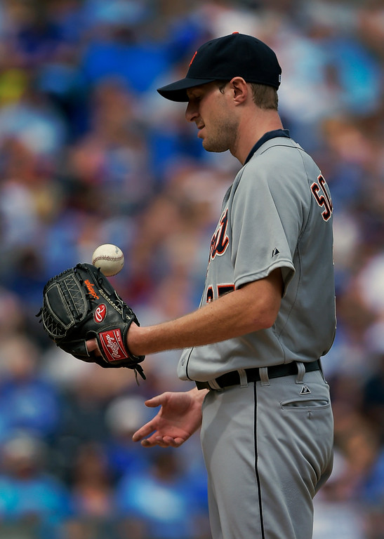 . Detroit Tigers starting pitcher Max Scherzer (37) looks on during the fifth inning of a baseball game against the Kansas City Royals, Saturday, Sept. 20, 2014, in Kansas City, Mo. (AP Photo/Reed Hoffmann)