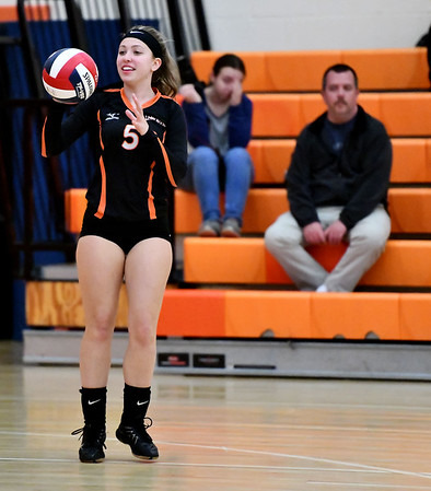 10/18/2019 Mike Orazzi | StaffrTerryville's Jessie Valentine (5) during Friday night's girls volleyball match with Goodwin Tech in Terryville.