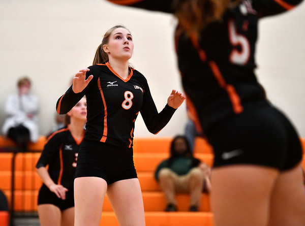 10/18/2019 Mike Orazzi | StaffrTerryville's Tiffany Pires (8) during Friday night's girls volleyball match with Goodwin Tech in Terryville.