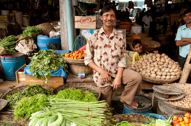 Vegetables and Smiling People at Srimongal Market - Bangladesh