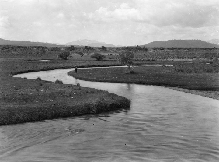 . Located in Owens Valley where planning and construction is progressing on the L.A. Aqueduct project. This is the Owens River around 1912.   (Los Angeles Public Library)