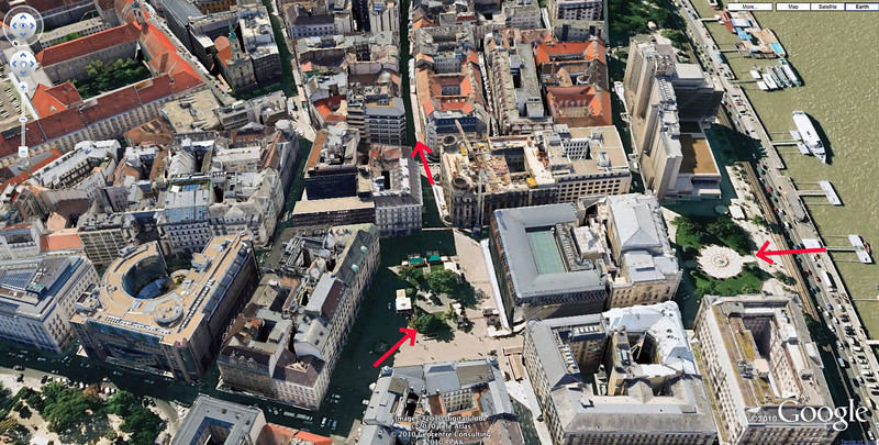20-Vaci utca (the shopping street—arrow pointing up); Vörösmarty Square (left arrow); and Vigadó Square (arrow at right). East bank of Danube and boat docks at far right. (Google maps)