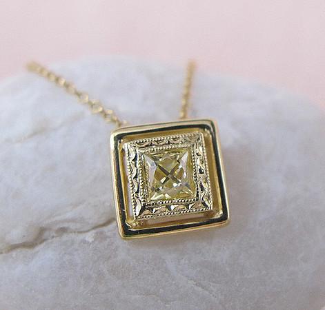 .40ct Fancy Yellow French Cut Diamond Pendant