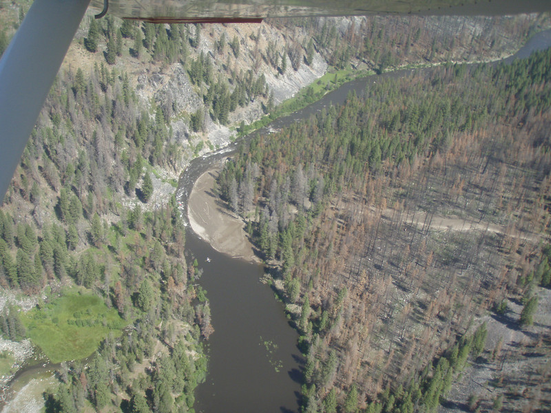 MONTANA HAZEN PHOTO - This drainage just below Sheepeater blew out in a series of thunderstorms in 1936.  It was the same event that produced debris flows at Sulphur Slide, Mortar Creek, and Canon Creek Rapids.