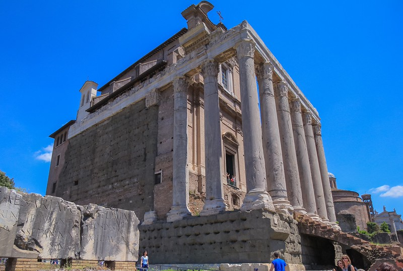 One of the better preserved facades belongs to the Temple of Antoninus and Faustina.