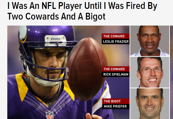 """. <p><b> Former Vikings punter Chris Kluwe has reached a settlement with his old team. The deal, announced Tuesday, falls short of Kluwe�s originally stated goal of making sure special teams coach Mike Priefer was � </b> </p><p> A. Fired </p><p> B. Banned from ever coaching at any level ever again </p><p> C. Nuked until he glowed </p><p><b><a href=\""""http://www.twincities.com/sports/ci_26363803/vikings-chris-kluwe-settle-lawsuit\"""" target=\""""_blank\"""">LINK</a></b> </p><p>   (Screen grab from Deadspin.com)</p>"""