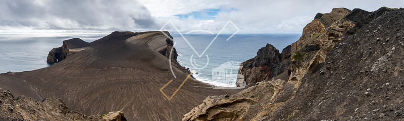 Panorama landscape of the new born land of the Capelinhos volcanic eruption in 1957-1958 at Faial island