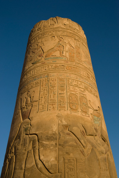 Temple column filled with ancient heiroglyphics - Komombo, Egypt