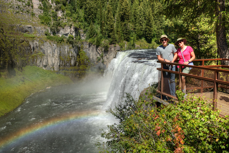 Jill and her nephew, Jared, trusting the rusty old railing at Mesa Falls.