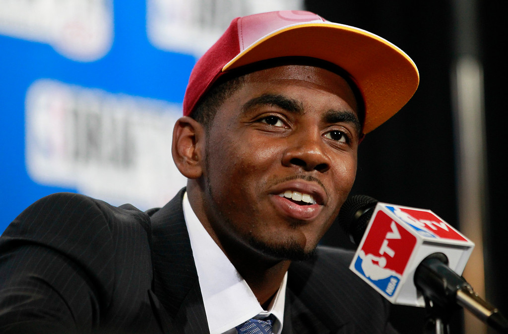 . Kyrie Irving, a former Duke basketball player, talks to the media after being drafted No. 1 by the Cleveland Cavaliers during the NBA basketball draft, Thursday, June 23, 2011, in Newark, N.J. (AP Photo/Julio Cortez)