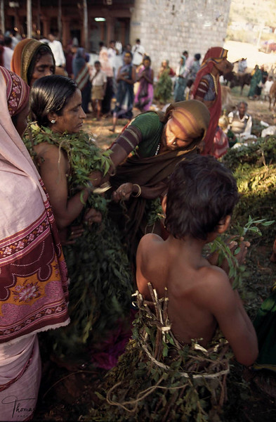 Covered in  purifying neem leaves, this woman had been gravely ill.  Her family came to the Yellamma shrine last year and prayed for the deity to spare her life.  In penance and thanks for their answered prayers, she wears the neem leaves and walks toward the central shrine.