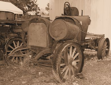 Next to the peach stand, this vehicle has seen better days.