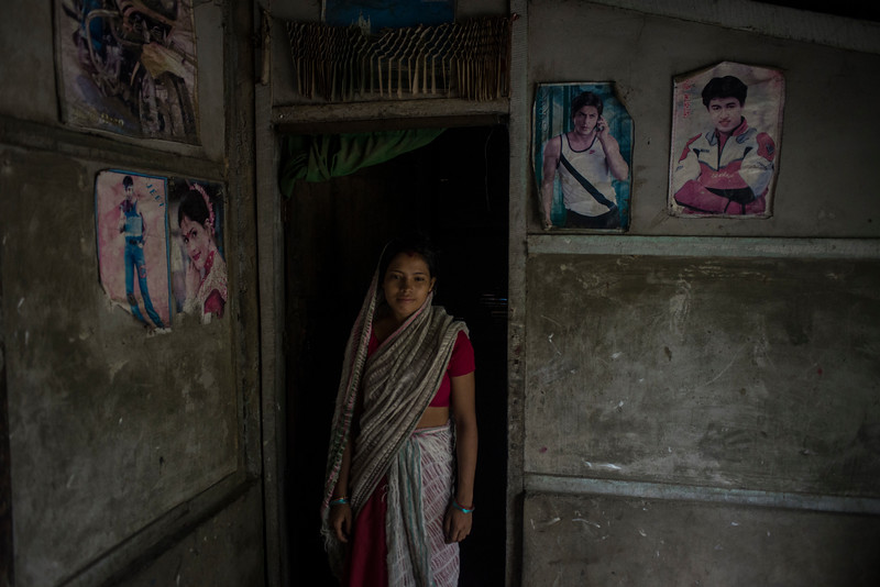 Dhemanji, Assam, India August,2014:   Young woman Poorna Das, 17 poses for a portrait at her home in  Simen Koi Bata village.   Series on early marriages in Assam, India for Al Jazeera America.       Photo:  Sami Siva