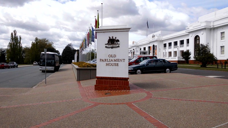 white sign saying old parliament house