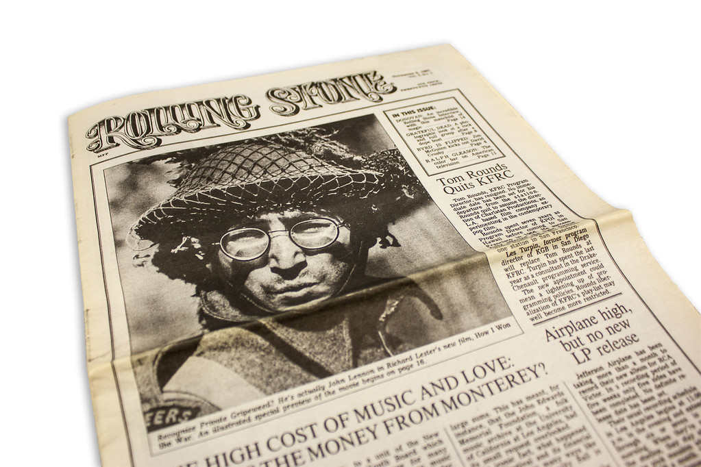 """. The front page of Rolling Stone\'s first issue, published in 1967. The Rock & Roll Hall of Fame is celebrating the iconic magazine�s half-century anniversary with its new �Rolling Stone / 50 Years� exhibit. It will be open through Winter 2017. For more information, visit <a href=\""""https://www.rockhall.com/rolling-stone-50-years\"""">rockhall.com/rolling-stone-50-years</a>. (Submitted)"""