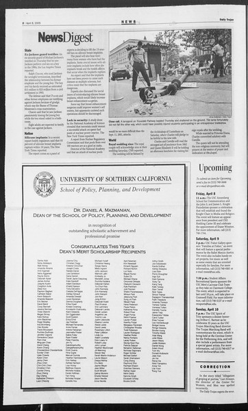 Daily Trojan, Vol. 154, No. 53, April 08, 2005