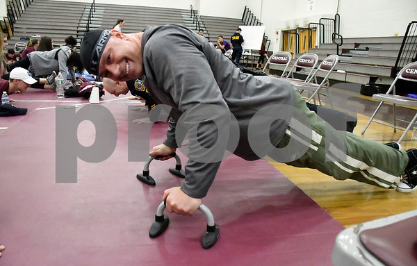 2/24/2018 Mike Orazzi | Staff Bristol Police Chief Brian Gould while participating in this year's Push-ups for Patriots, a 24-hour exercise marathon raises money for wounded Marines and their families, at BCHS Saturday.