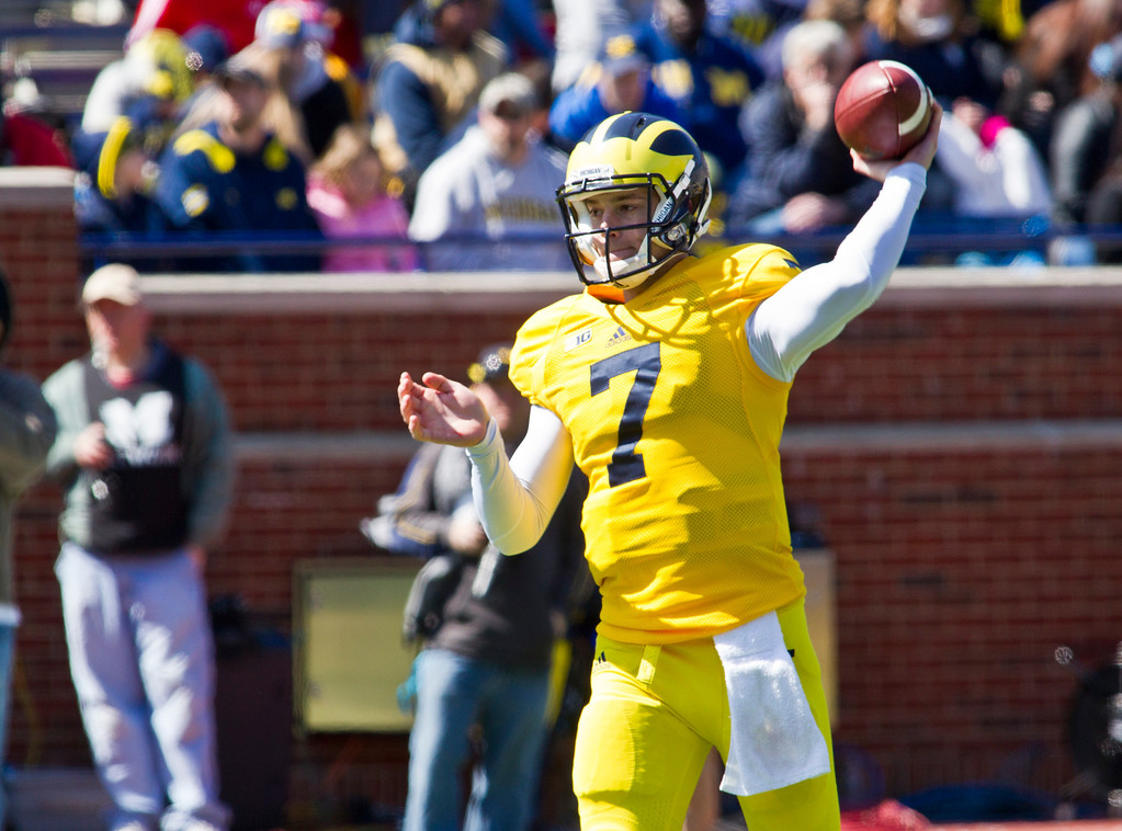. Michigan quarterback Shane Morris (7) throws a pass during the football team\'s annual spring game, Saturday, April 5, 2014, in Ann Arbor, Mich. (AP Photo/Tony Ding)