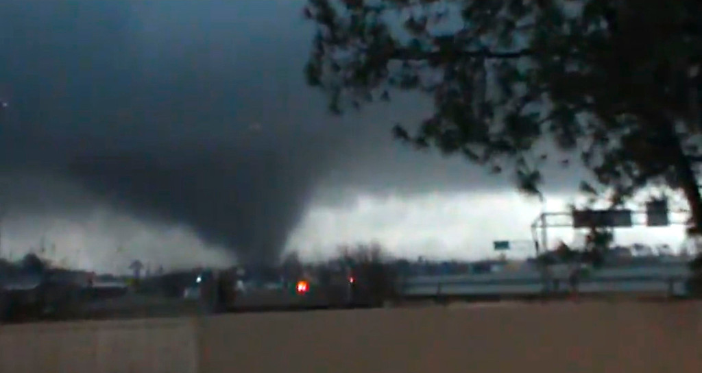 . A tornado is pictured near Hattiesburg, Mississippi in this still image from a video shot on February 10, 2013. The tornado, which touched down at approximately 5:30 p.m. local time, was reported to have injured three people and caused damage to the nearby campus of the University of Southern Mississippi.    REUTERS/Rynal Grant/Handout