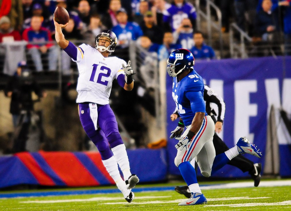 ". <p>1. JOSH FREEMAN <p>New York Giants apparently weren�t watching last year when he soiled himself in the Vikings-Giants game. (unranked) <p><b><a href=\'http://blogs.twincities.com/vikings/2014/04/16/josh-freeman-on-verge-of-joining-giants-after-disastrous-vikings-tenure/\' target=""_blank\""> HUH?</a></b> <p>    (Pioneer Press: Ben Garvin)"