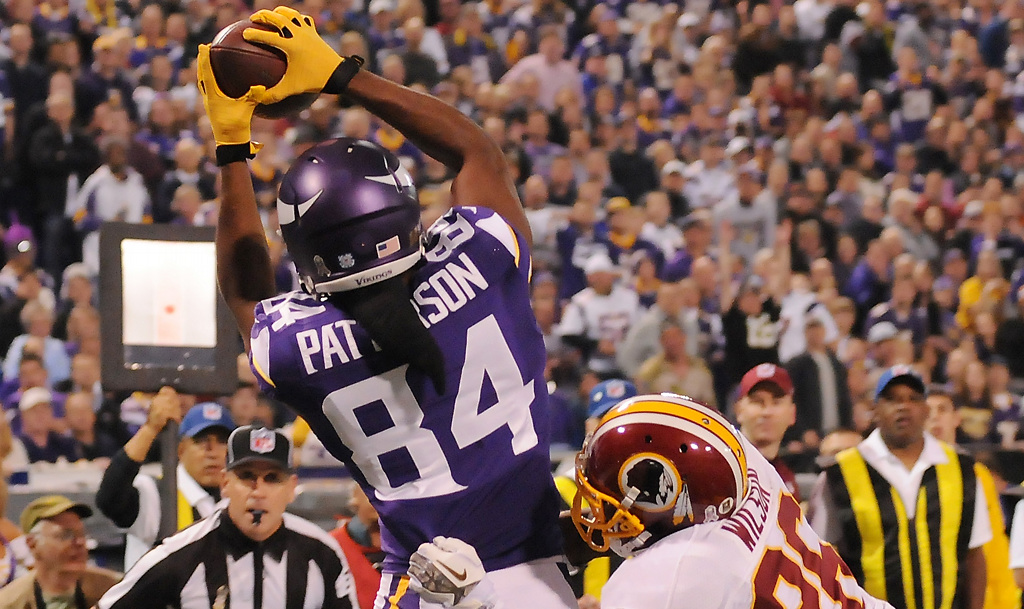 . Minnesota wide receiver Cordarrelle Patterson hauls down a touchdown pass in the second quarter. (Pioneer Press: John Autey)
