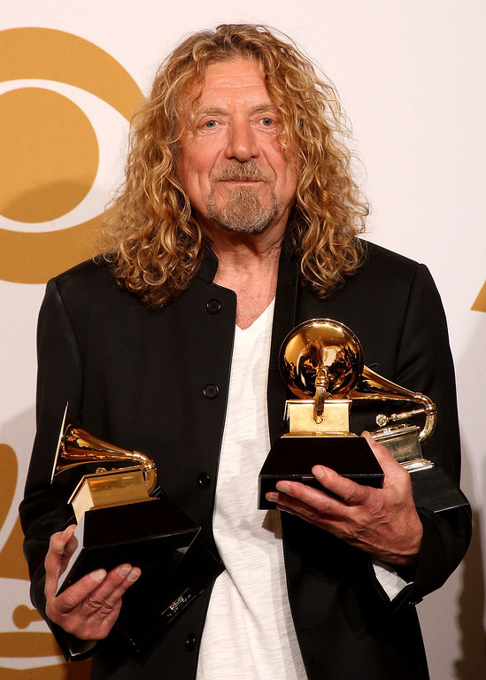 . Musician Robert Plant, winner of five awards; Best Country Collaboration With Vocals, Best Pop Collaboration With Vocals, Best Best Contemporary Folk/Americana Album, Best Record, and Album of the Year, poses in the press room during the 51st Annual Grammy Awards held at the Staples Center on February 8, 2009 in Los Angeles, California.  (Photo by Jason Merritt/Getty Images)